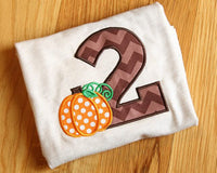 2nd Second Fall Pumpkin Birthday Party Embroidery Applique 4x4