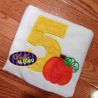5th Fifth Five Fall Pumpkin Birthday Party Embroidery Applique 4x4