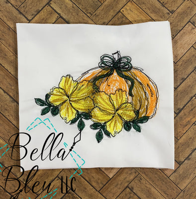 Fall Sketchy Pumpkin and flower scribble
