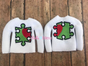 Autism Puzzle Pieces ITH Elf Sweater Shirt