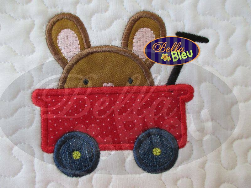 Peeking Easter Bunny Boy in red wagon