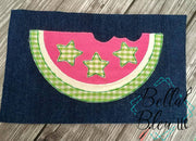 Raggy 4th of July Watermelon slice applique Machine Embroidery design
