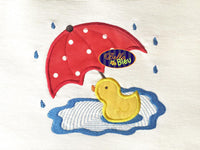 Rainy Day Umbrella & Duckie Ducky Duck Applique Embroidery Design