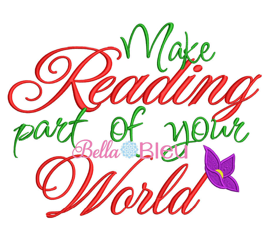 Make reading part of your world Mermaid reading pillow saying embroidery design