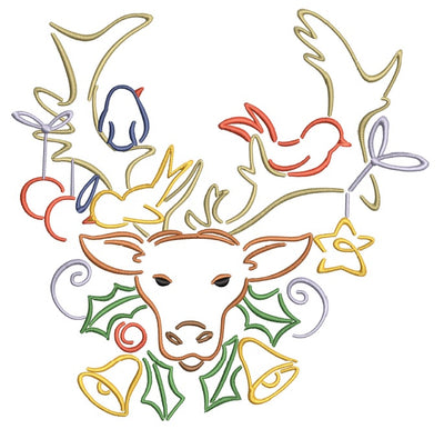 Christmas Reindeer and Friends  Machine Embroidery Design