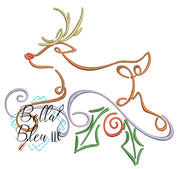 Christmas Reindeer Swirl 2 Satin Swirl Machine Embroidery Design