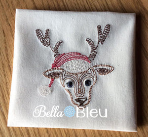 Reindeer boy colorwork redwork Christmas Machine Embroidery Design