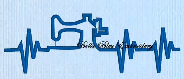 Heartbeat heart beat of a Seamstress Sewer Sewing machine Reversed fill machine Embroidery Design