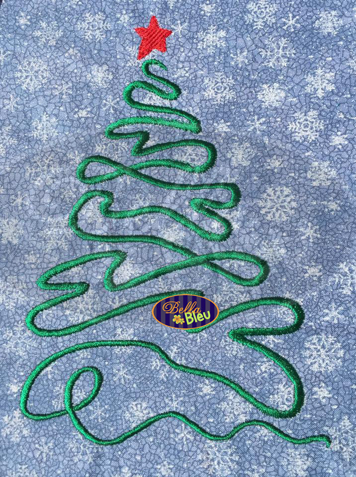 Christmas Ribbon Tree with Star Filled Machine Embroidery Design