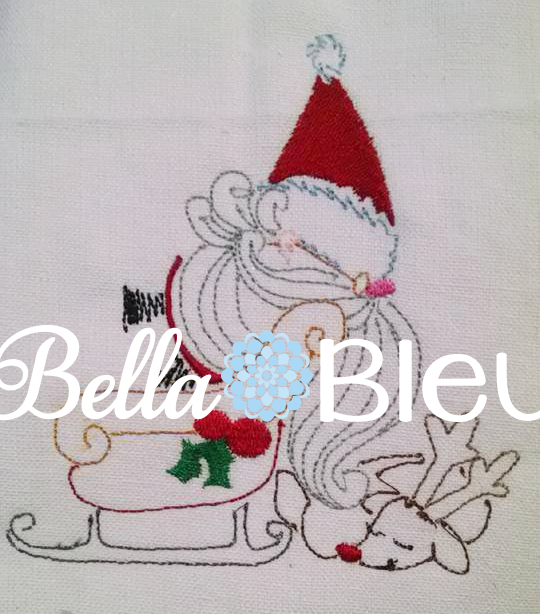 Santa Claus with his sleigh and Rudolph Redwork Colorwork Machine Embroidery design