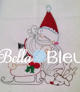 Vintage Santa with sleigh quick bean stitch Christmas Embroidery design