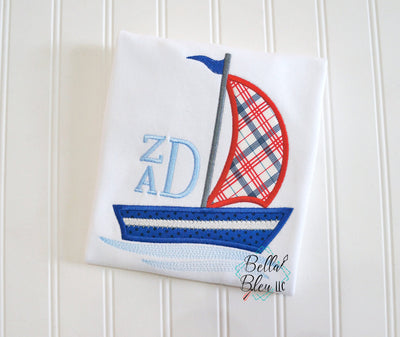 Monogram Frame Sailboat Applique Machine Embroidery design