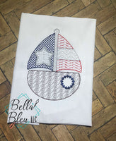 4th of July Sailboat Patriotic Motif Machine Embroidery design