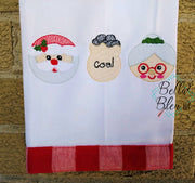 Sketchy Christmas Santa Mrs Claus & Sack of Coal Trio