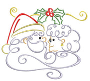 Christmas Christmas Santa with Mrs Claus under Mistletoe Machine Embroidery Design