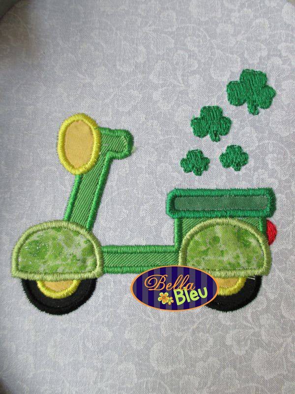 St Patrick's Day Shamrock Scooter Applique Embroidery Designs Design Monogram