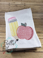 Back to School Pencil and Apple Sketchy machine embroidery design