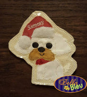 ITH Christmas Santa Shuh Tzu dog Ornament Machine Applique Embroidery Design