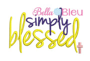 Simply Blessed with Cross Hat Machine embroidery design