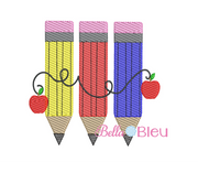 Sketchy Pencil Trio with Apples Machine embroidery design
