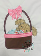 Sleeping Bunny in Easter Basket