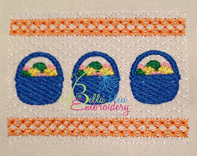 Faux Smocking Easter Basket with Eggs Machine Embroidery Design