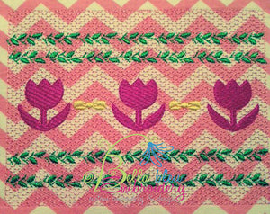Faux Smocking Spring Tulips Easter Machine Embroidery Design