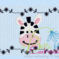 Faux Smocking Smock Smocked Zebra Zoo Animal  Machine Embroidery Design