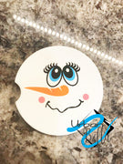 Winter Girl Snowman Drink Sand Stone Car coaster