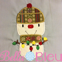 Adorable Snowman with Christmas Lights Winter Machine Applique Embroidery design