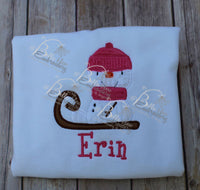 Adorable Snowman riding a sled Winter Machine Applique Embroidery design