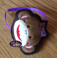 ITH in the hoop Sock Monkey Girl with Bow Headband Slider Topper machine embroidery