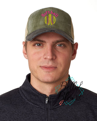 Softball Dad Sketchy Baseball Hat Cap Machine Embroidery Design