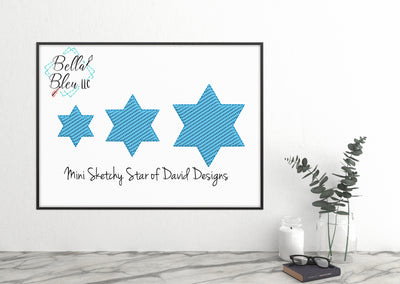 Mini Star of David Hanukkah Jewish Sketchy Machine Embroidery Design