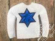 Applique Star of David Jewish Hanukkah ITH Elf Sweater Shirt