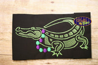 Mardi Gras Alligator Gator Wearing Party Beads Filled Embroidery Design