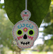 ITH Sugar Skull 1 Ornament Machine Applique Embroidery