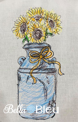Sunflowers in Milk Can Scribble Sketchy