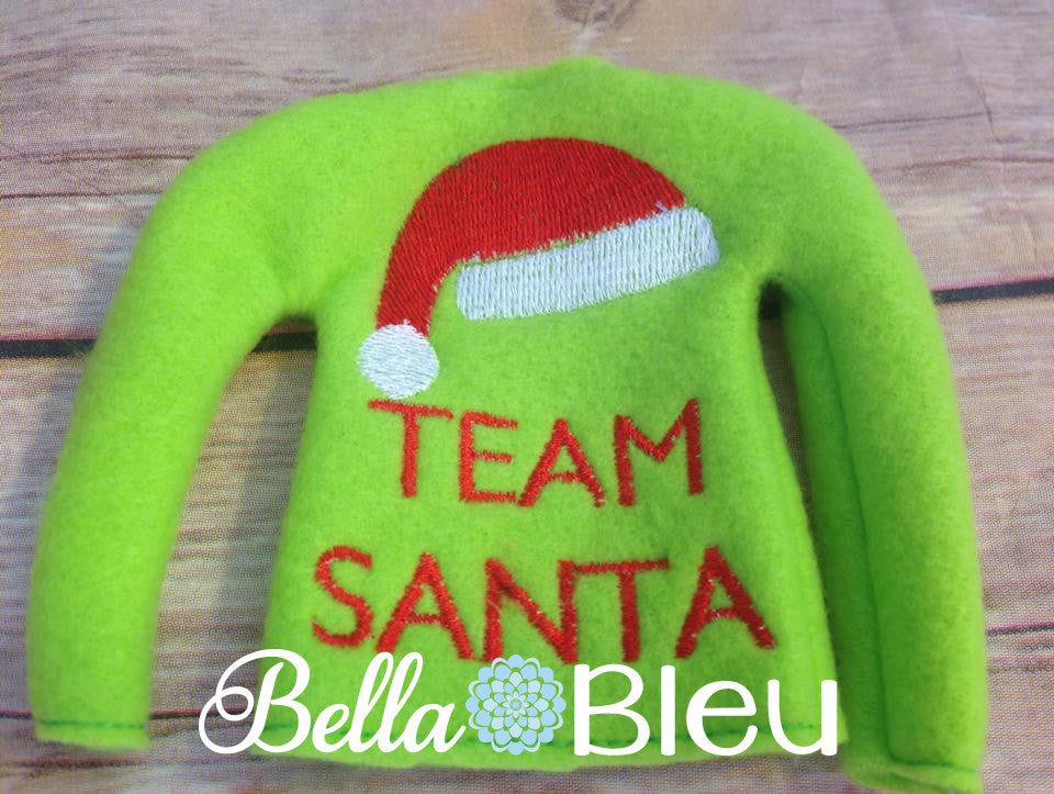 "ITH Elf ""Team Santa"" Christmas Sweater Shirt Machine Embroidery Design"