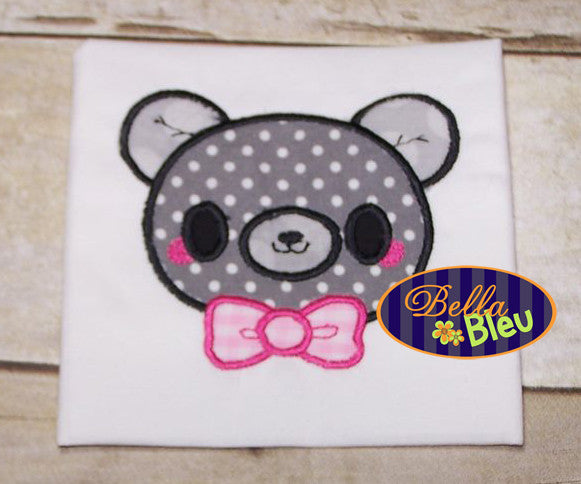 Adorable Kawaii Teddy Bear Boy with Bow Tie Animal Applique Embroidery Design