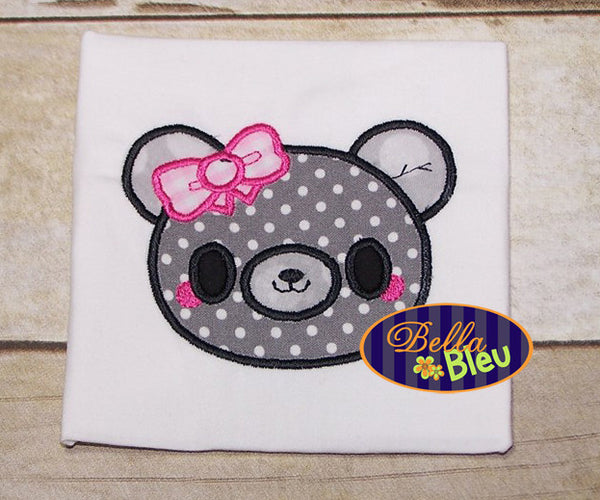 Adorable Kawaii Teddy Bear Girl with Bow Animal Applique Embroidery Design