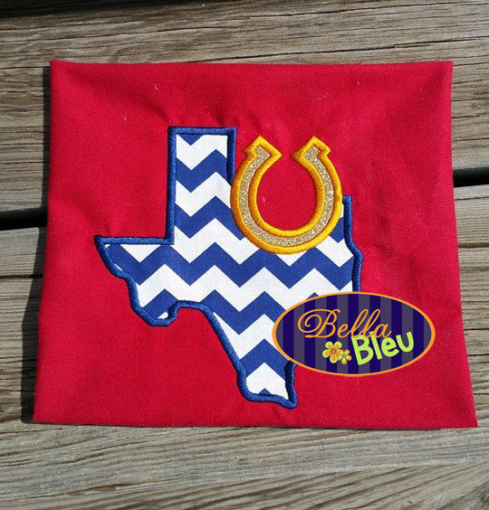Texas State Applique with Horse shoe Embroidery Design Monogram