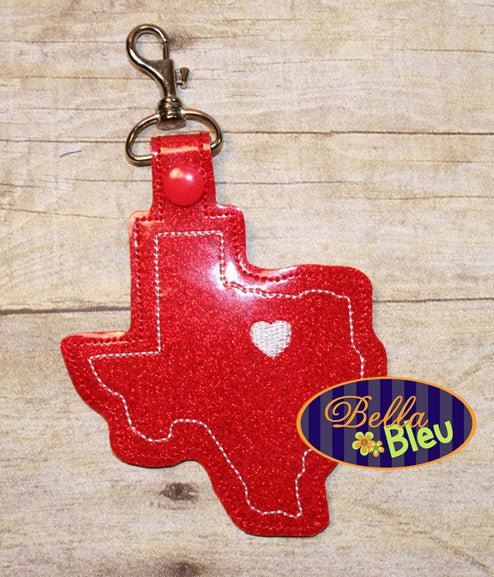 ITH in the hoop bean stitch Texas Lone Star State Key Luggage Tag Fob Keychain machine embroidery