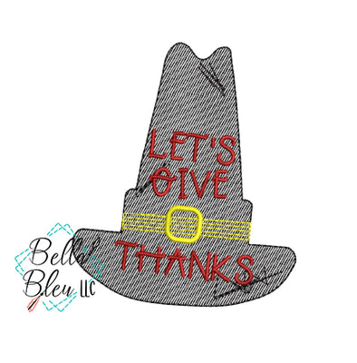 Sketchy Thanksgiving Pilgrim Hat embroidery design