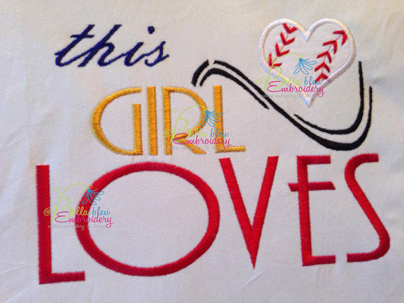 This Girl loves heart baseball Applique Embroidery Design