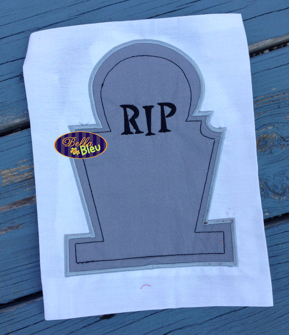 Halloween RIP Tombstone headstone Monogram Machine Applique Embroidery Design