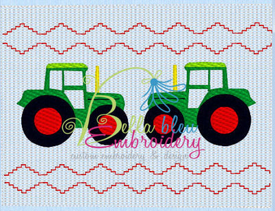 Faux Smocking Farm Tractor Machine Embroidery Design
