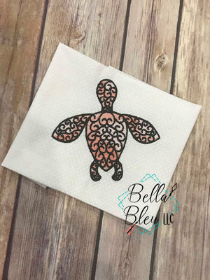 Sketchy Urban Nautical Sea Turtle fill Machine Embroidery design 4x4
