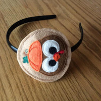 ITH in the hoop Thanksgiving Pilgrim Turkey with Pumpkin Headband Topper Slider Applique machine embroidery