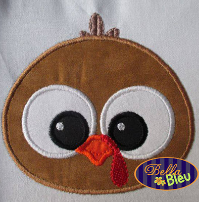 Adorable Thanksgiving Turkey Face Head Machine Applique Embroidery Designs Design